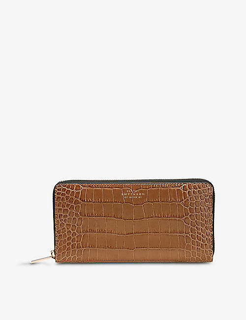 SMYTHSON: Mara large croc-embossed leather zip-around wallet