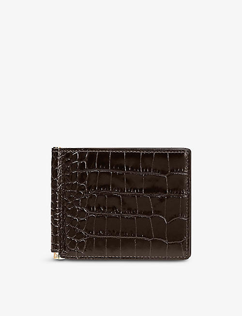 SMYTHSON: Mara money clip croc-embossed leather wallet