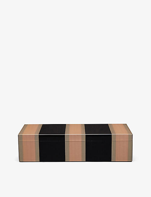 SMYTHSON: Marquetry rectangle wooden trinket box 28cm