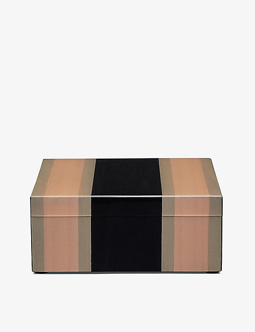 SMYTHSON: Marquetry square wooden trinket box 12cm