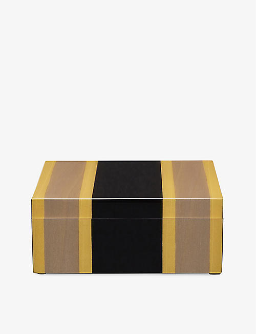 SMYTHSON: Marquetry square wooden trinket box 12cm<BR/> <BR/>Marquetry square wooden trinket box 12cm