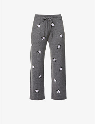 CHINTI AND PARKER: Star-print wide-leg high-rise wool and cashmere-blend trousers
