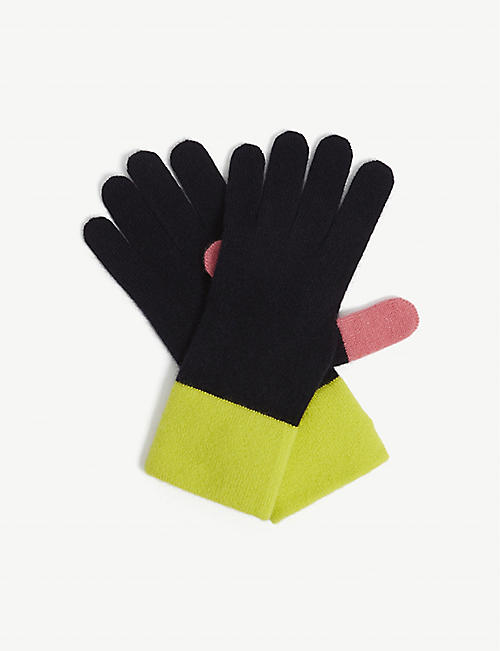 CHINTI AND PARKER: cashmere-blend colour-block gloves