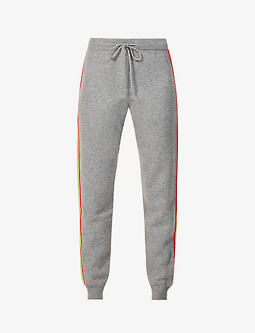 CHINTI AND PARKER: Ripple side-stripe tapered high-rise wool and cashmere-blend trousers