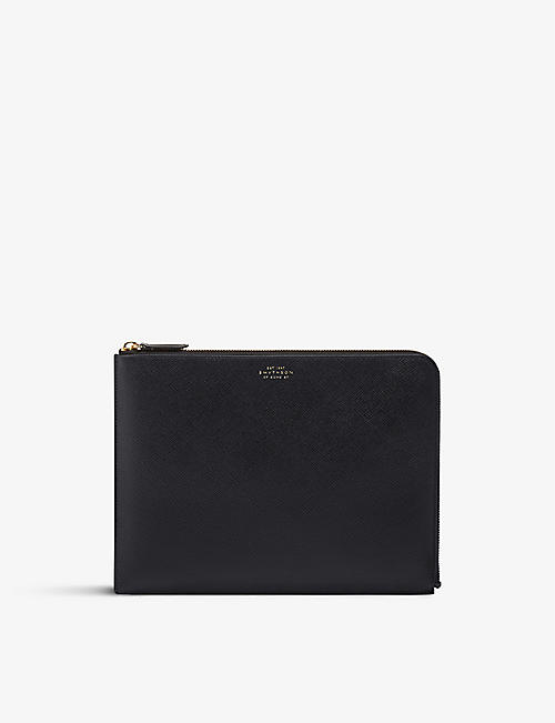 SMYTHSON: Panama large leather pouch