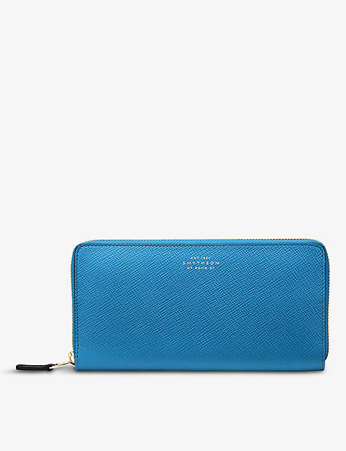 SMYTHSON: Panama large zip-around crossgrain leather wallet