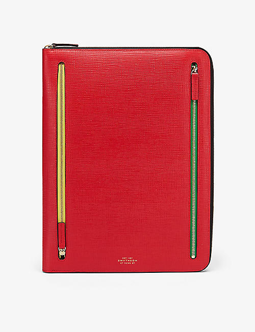 SMYTHSON: Panama zip crossgrain leather currency case