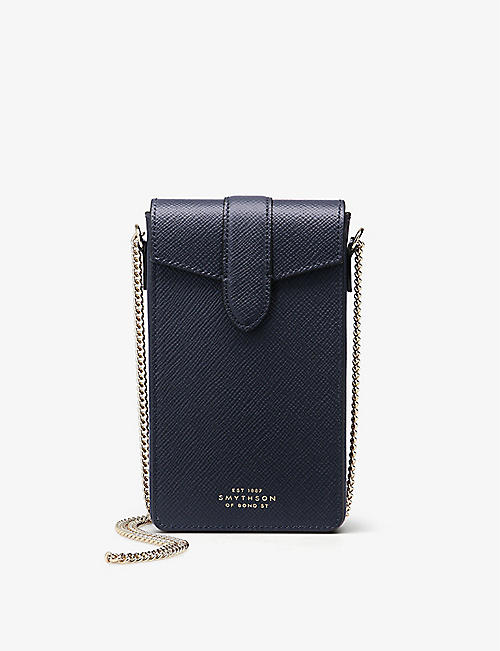 SMYTHSON: Panama crossgrain leather phone case on chain
