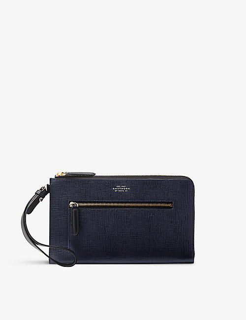 SMYTHSON: Panama pochette with strap in crossgrain leather