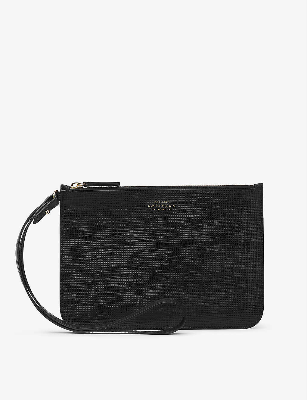 SMYTHSON: Panama pouch with loop strap in crossgrain leather