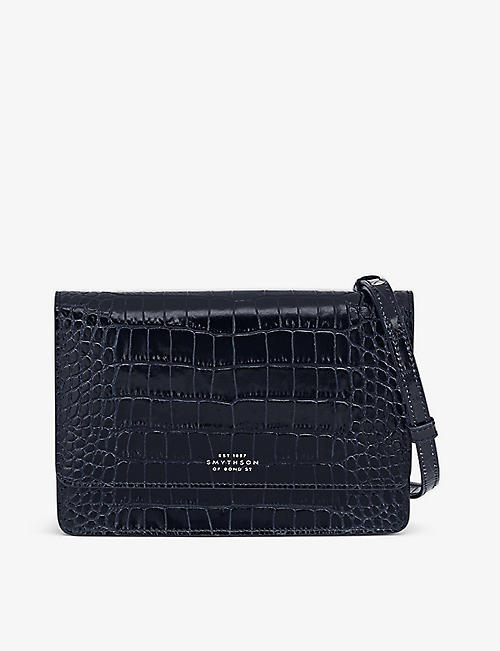 SMYTHSON: Panama crocodile-embossed leather purse