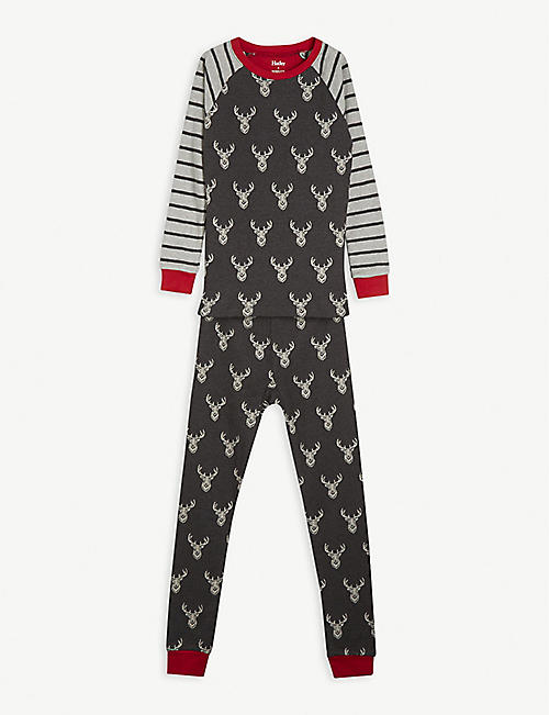 HATLEY: Stag and stripe-print cotton pyjamas 2-10 years