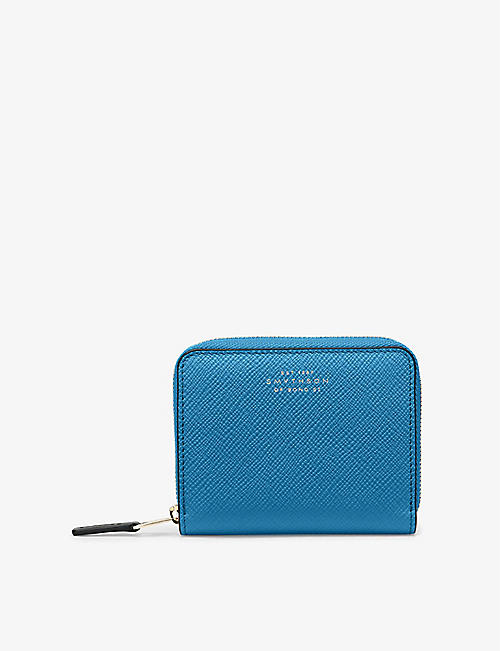 SMYTHSON: Panama cross-grain leather coin purse