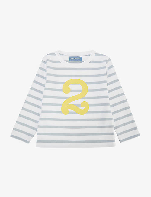 BOB & BLOSSOM: 'Two' striped cotton T-shirt 2-3 years