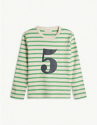BOB & BLOSSOM: 'Five' striped cotton T-shirt 5-6 years