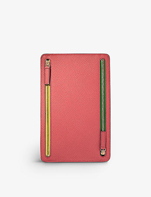 SMYTHSON: Panama crossgrain leather zip currency case 22cm x 14cm