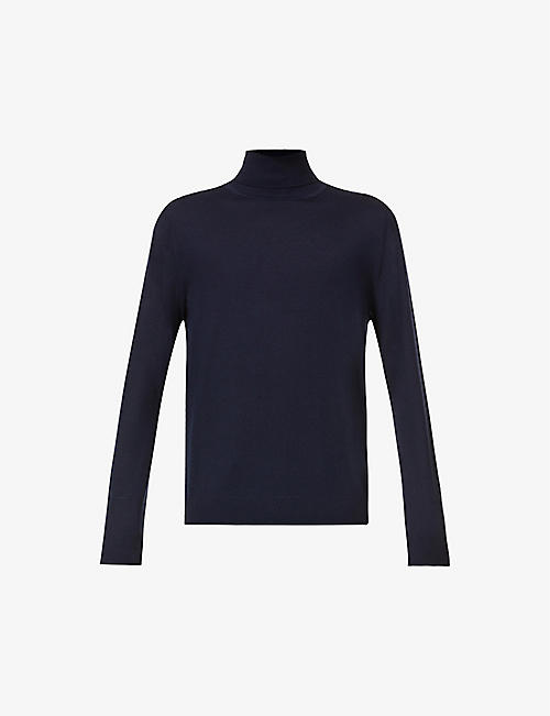 PAUL SMITH: Stripe-trimmed turtleneck wool jumper