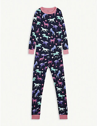 HATLEY: Happy Horses-print cotton pyjamas 2-10 years