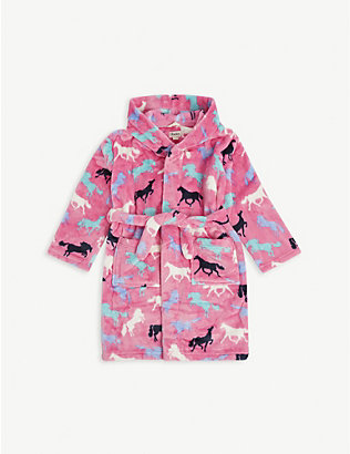 HATLEY: Horse-print dressing gown 2-9 years