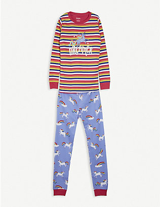 HATLEY: Unicorn-print cotton pyjama set 2-10 years
