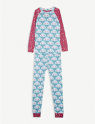 HATLEY: Cheery cloud-print cotton pyjama set 2-10 years