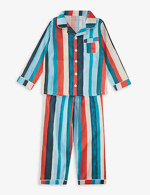 DESMOND AND DEMPSEY: Striped organic cotton pyjama set 2-9 years