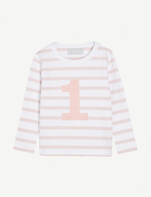 BOB & BLOSSOM: 'One' striped cotton T-shirt 1-2 years