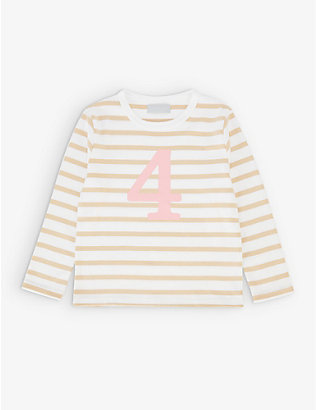 BOB & BLOSSOM: 'Four' striped cotton T-shirt 4-5 years