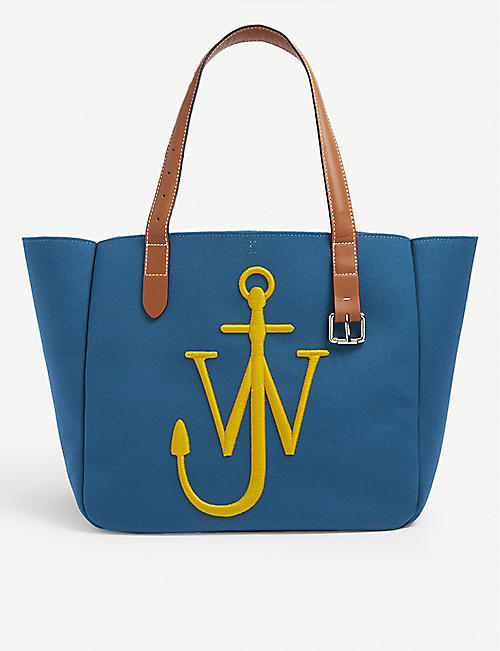 JW ANDERSON: Belt branded recycled-canvas tote bag