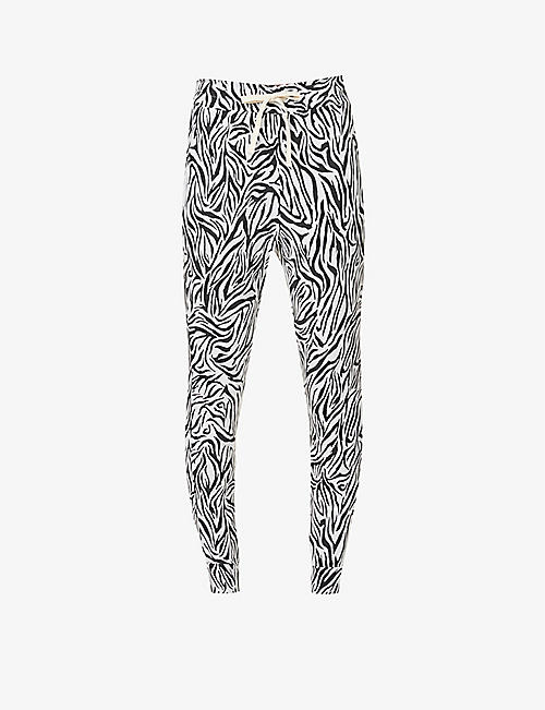STRIPE & STARE: Safari tapered mid-rise stretch-jersey jogging bottoms