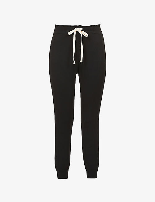 STRIPE & STARE: Tapered drawstring-waistband stretch-jersey trousers