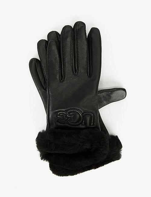 UGG: Classic leather and wool-blend gloves
