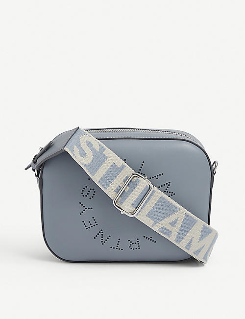 STELLA MCCARTNEY: Perforated-logo mini vegan-leather cross-body bag