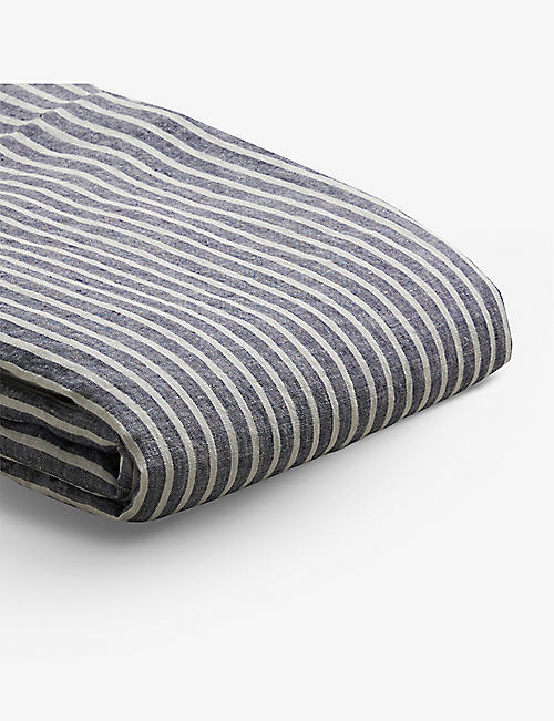 PIGLET: Midnight Stripe linen duvet cover