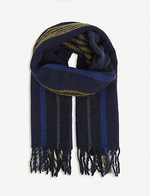 PAUL SMITH ACCESSORIES: Striped wool-alpaca blend scarf