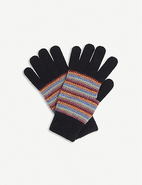 PAUL SMITH ACCESSORIES: Ombre-striped lambswool gloves