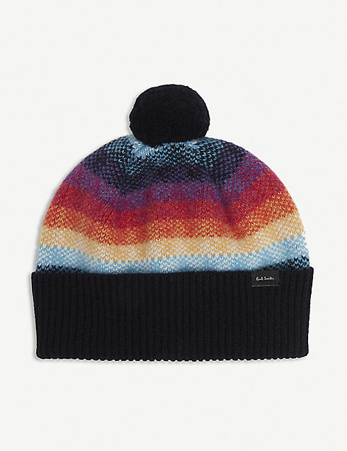 PAUL SMITH ACCESSORIES: Ombre-striped lambswool beanie hat