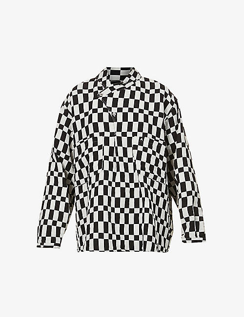 AMBUSH: Checked cotton and linen-blend shirt