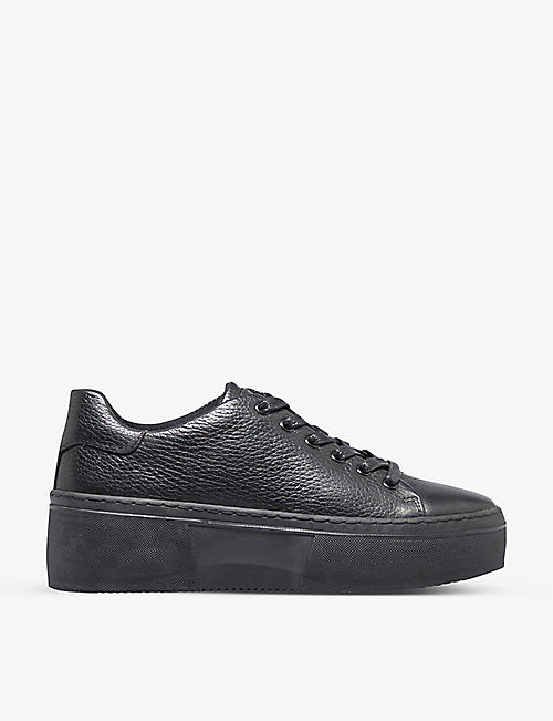 BERTIE: Electaa lace-up leather flatform trainers