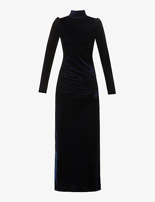 REFORMATION: Moonlight high-neck stretch-velvet midi dress