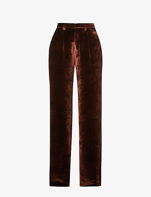REFORMATION: Wes wide high-rise velvet trousers