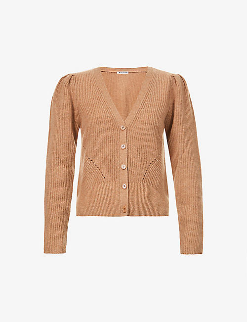 REFORMATION: Fossi puff-sleeved recycled-cashmere cardigan