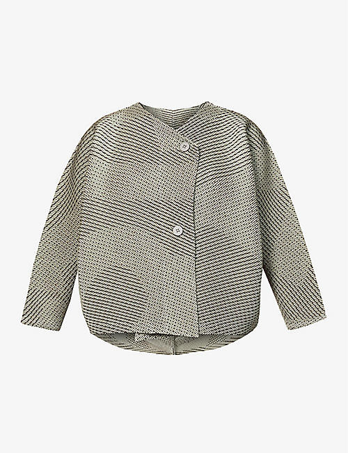 ISSEY MIYAKE: Weave-pattern pleated woven cardigan