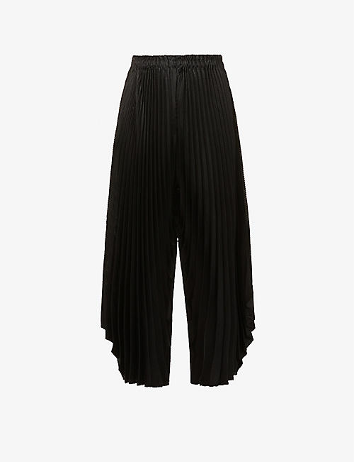 ISSEY MIYAKE: Pleated wide-leg high-rise woven trousers