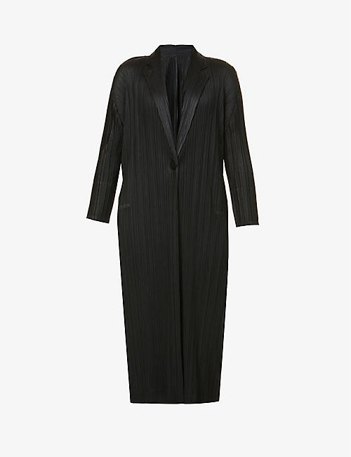 PLEATS PLEASE ISSEY MIYAKE: Monthly single-breasted pleated woven coat