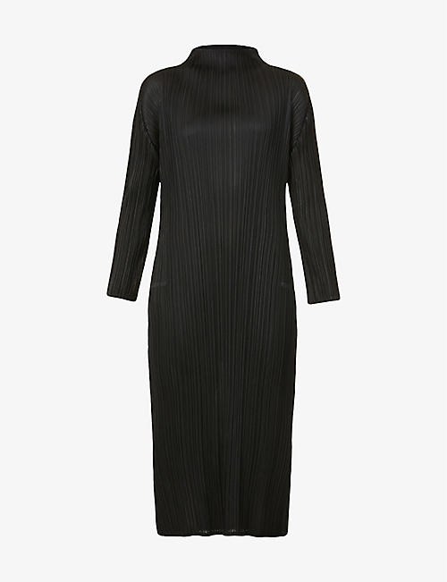PLEATS PLEASE ISSEY MIYAKE: Monthly pleated high-neck woven midi dress