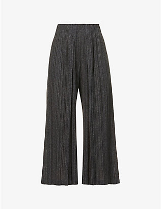 PLEATS PLEASE ISSEY MIYAKE: Ramie pleated cropped wide-leg high-rise woven trousers