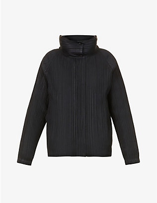 PLEATS PLEASE ISSEY MIYAKE: High-neck pleated woven jacket
