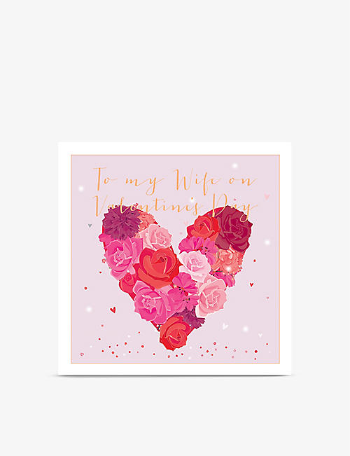 VALENTINES: To my Wife on Valentine's Day greetings card 22cm x 22cm