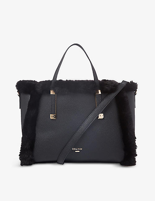 DUNE: Duffie faux-fur trimmed tote bag